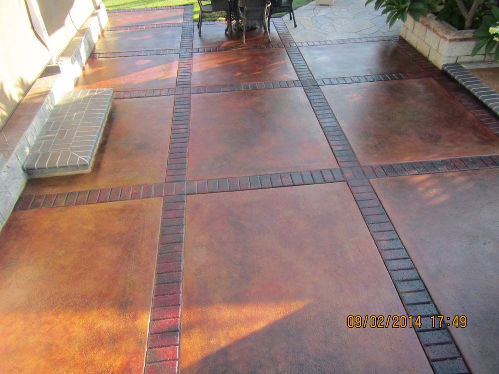 Cola Acid Stain With Concrete Dye Highlights Sealed With Sprayable Satin  Finish Sealer