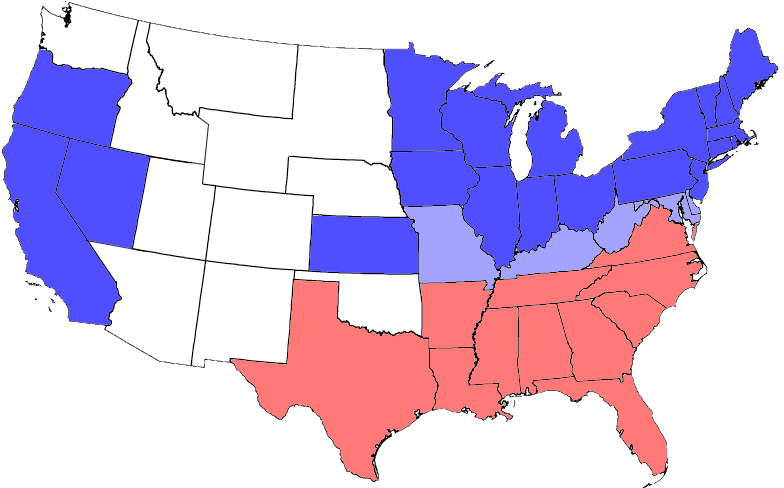 USA Map Including Civil War Divisions Slave And Free States - Map of the us during civil war