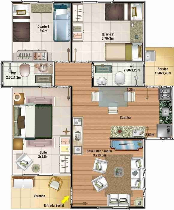planos de casas 80 metros cuadrados