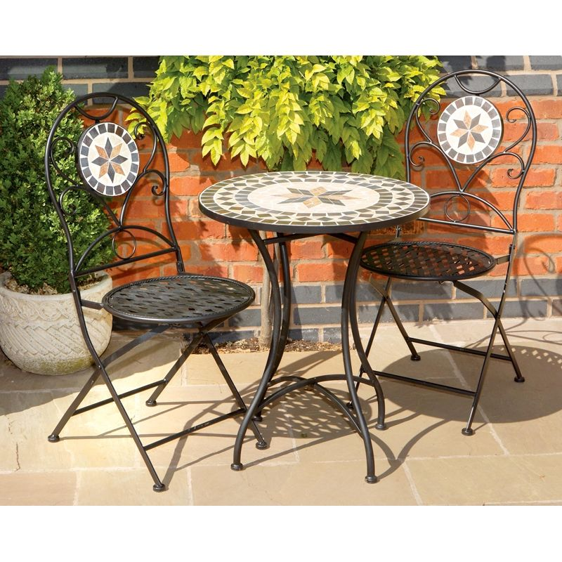 Mosaic Bistro Table Sets Piece Tuscany Stone And Metal Set Ggofurn35 Garden Mall