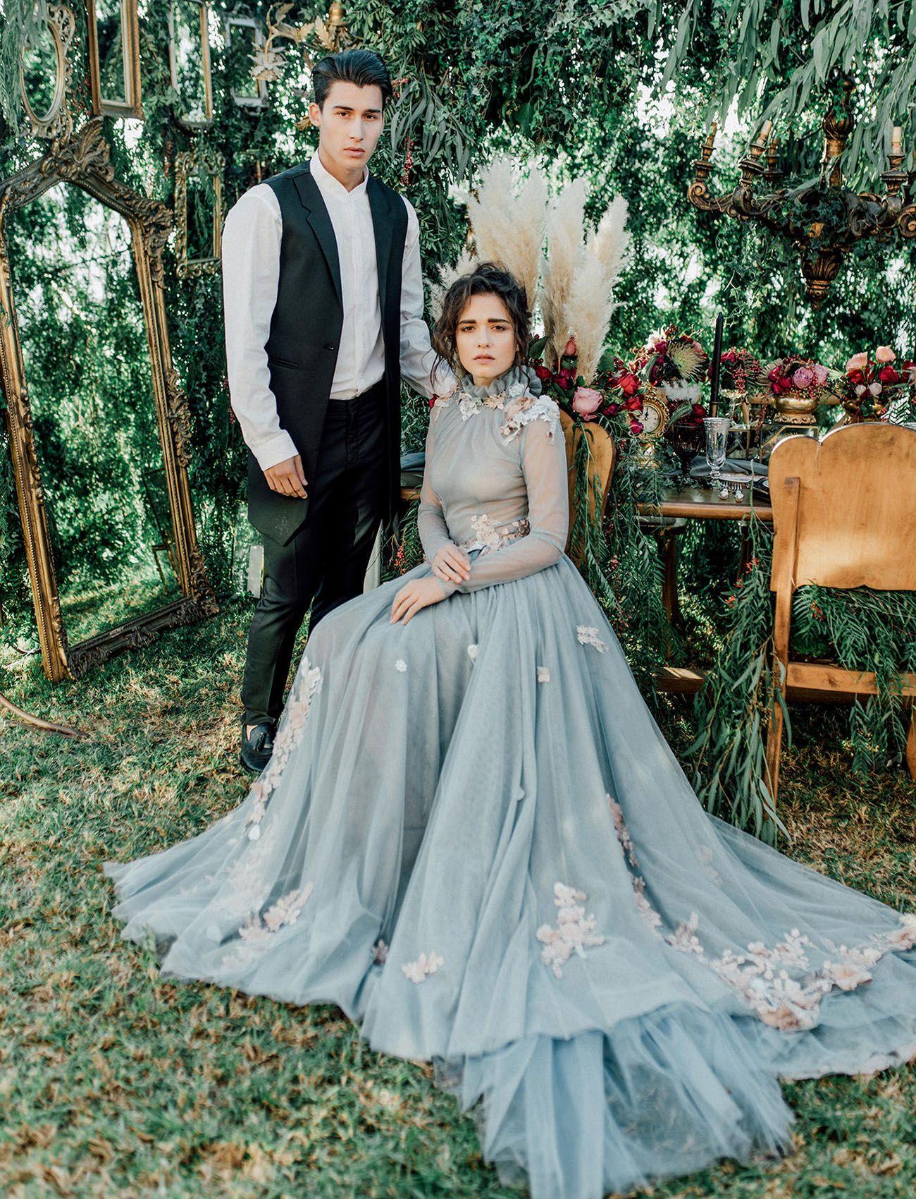 Secret Garden Wedding Inspiration With a Flower-Studded Dusty Blue ...