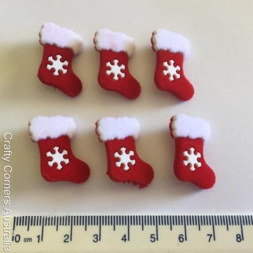 Christmas Santa Tree Snowflakes Dress It Up Craft Buttons RED FELT STOCKINGS
