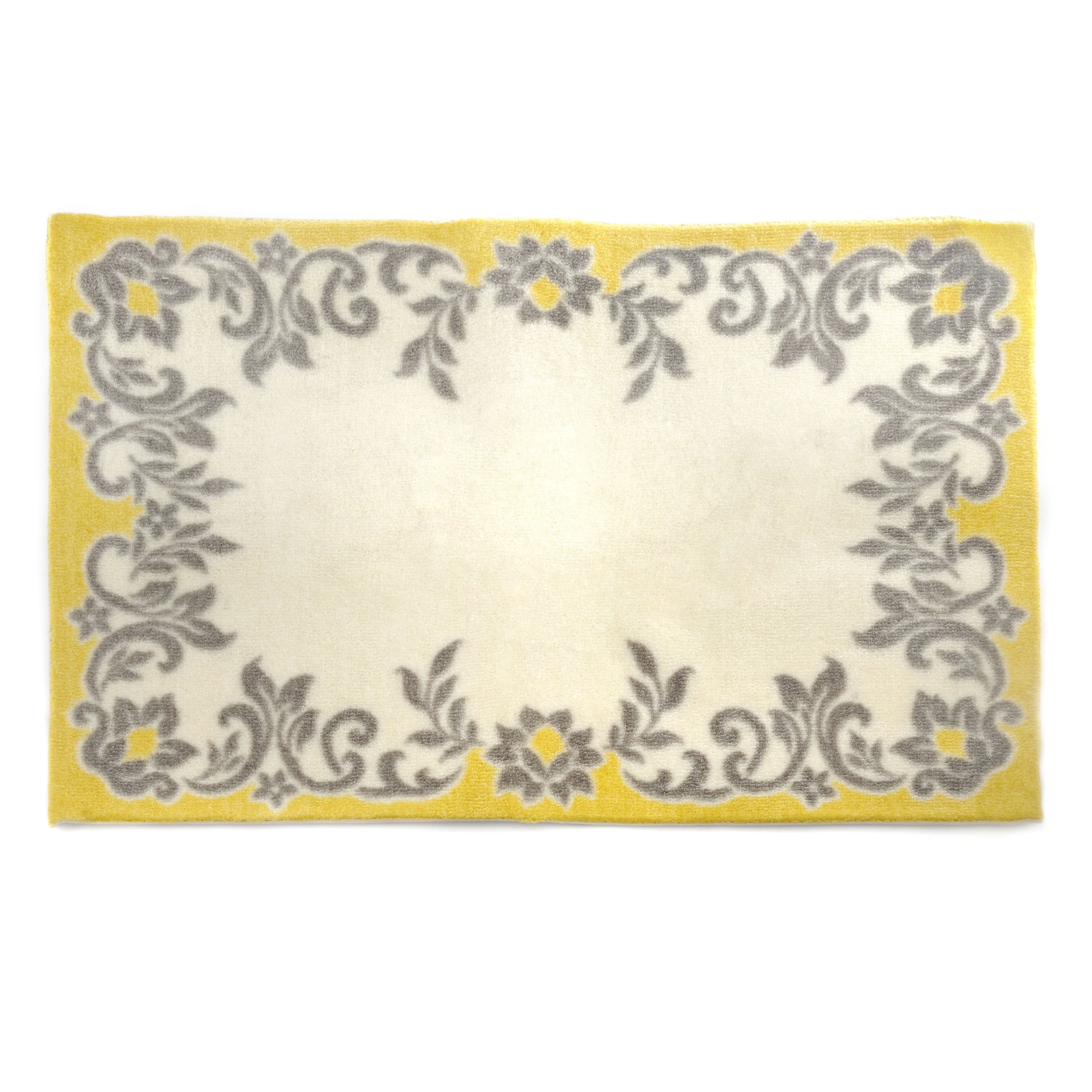 Enhance Your Bathroom Decor With The Charming Bedazzled Bath Mat - Yellow and grey bath mat for bathroom decorating ideas