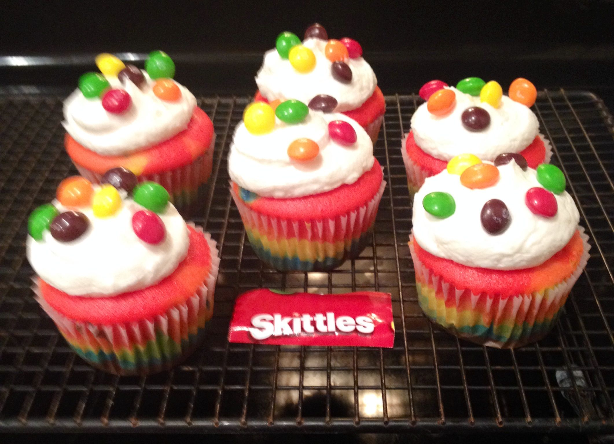 Skittles themed cupcakes