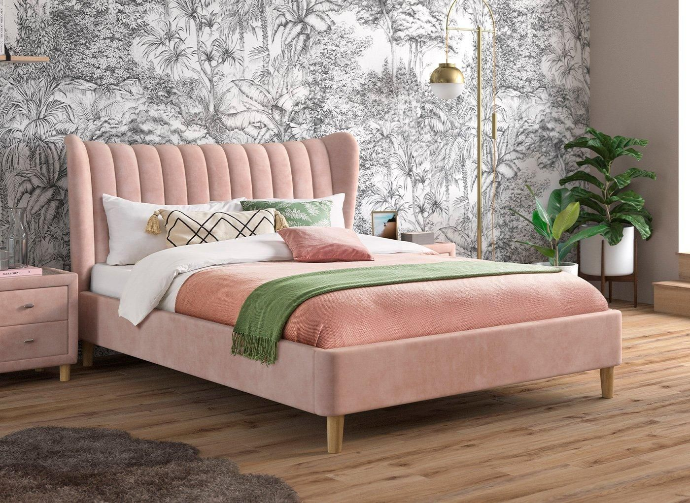 Knox Upholstered Bed Frame 4 6 Double Pink In 2020 Upholstered