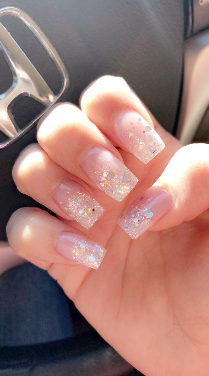 Natural Acrylic Nails With Pink Gel And Clear Coat I Love Them Natural Acrylic Nails Work Nails Natural Nails