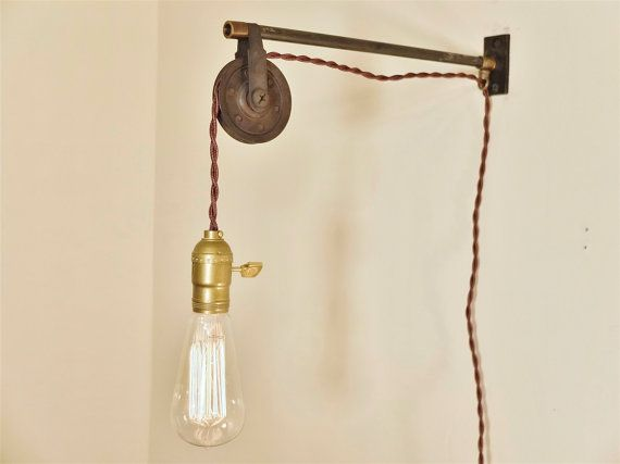 Vintage Industrial Pulley Sconce Wall Mount Pendant Light
