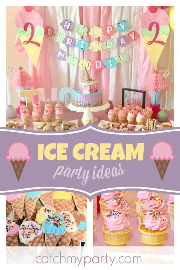 Be blown away by this stunning ice cream birthday party! The birthday cake is amazing! See more party ideas and share yours at CatchMyParty.com #catchmyparty #partyideas #icecreambirthdayparty #summerparty #girlbirthdayparty #icecreambirthdayparty