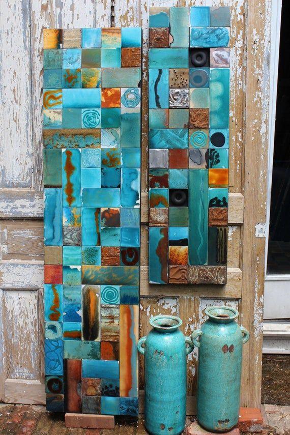 Technique mixte bleu vert turquoise Turquoise bois étain émaillés Zuni RainDancer Collage BoHo Sedona New Age sud-ouest Santa Fe Art bijoux Indiens