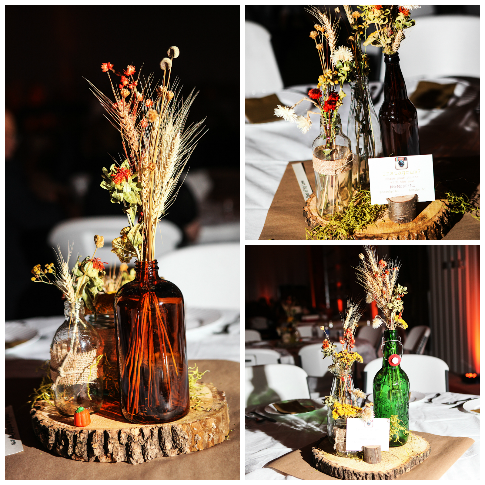 Pinterest Fall Wedding Flowers: Rustic Wedding Centerpiece. Use Recycled Bottles And Dried