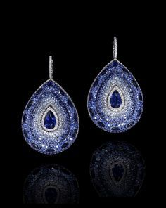 LEVIEV Sapphire and White Diamond Earrings totaling 26.65 carats handcrafted in platinum.