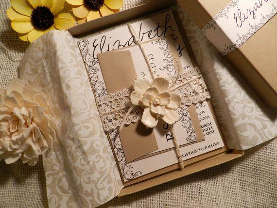 Wedding Invitation In A Box: Vintage Flowers Wedding Invitation Box By