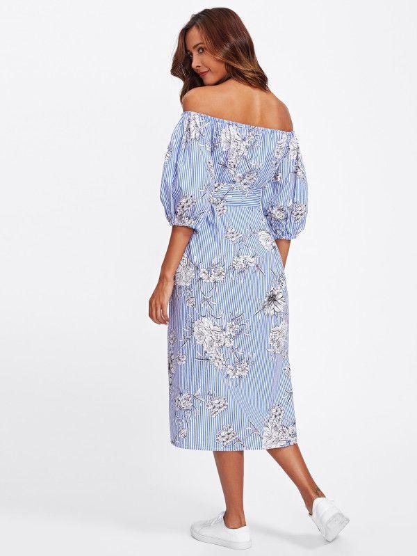 16fd3bcfcb Self Tie Floral And Striped Bardot Dress -SheIn(Sheinside)   Nuevo ...