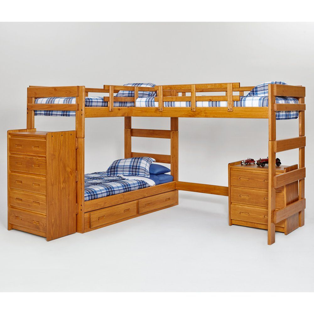 Woodcrest Heartland L Shaped Loft Bunk Bed With Extra Honey Www Hayneedle Com Beds Cool