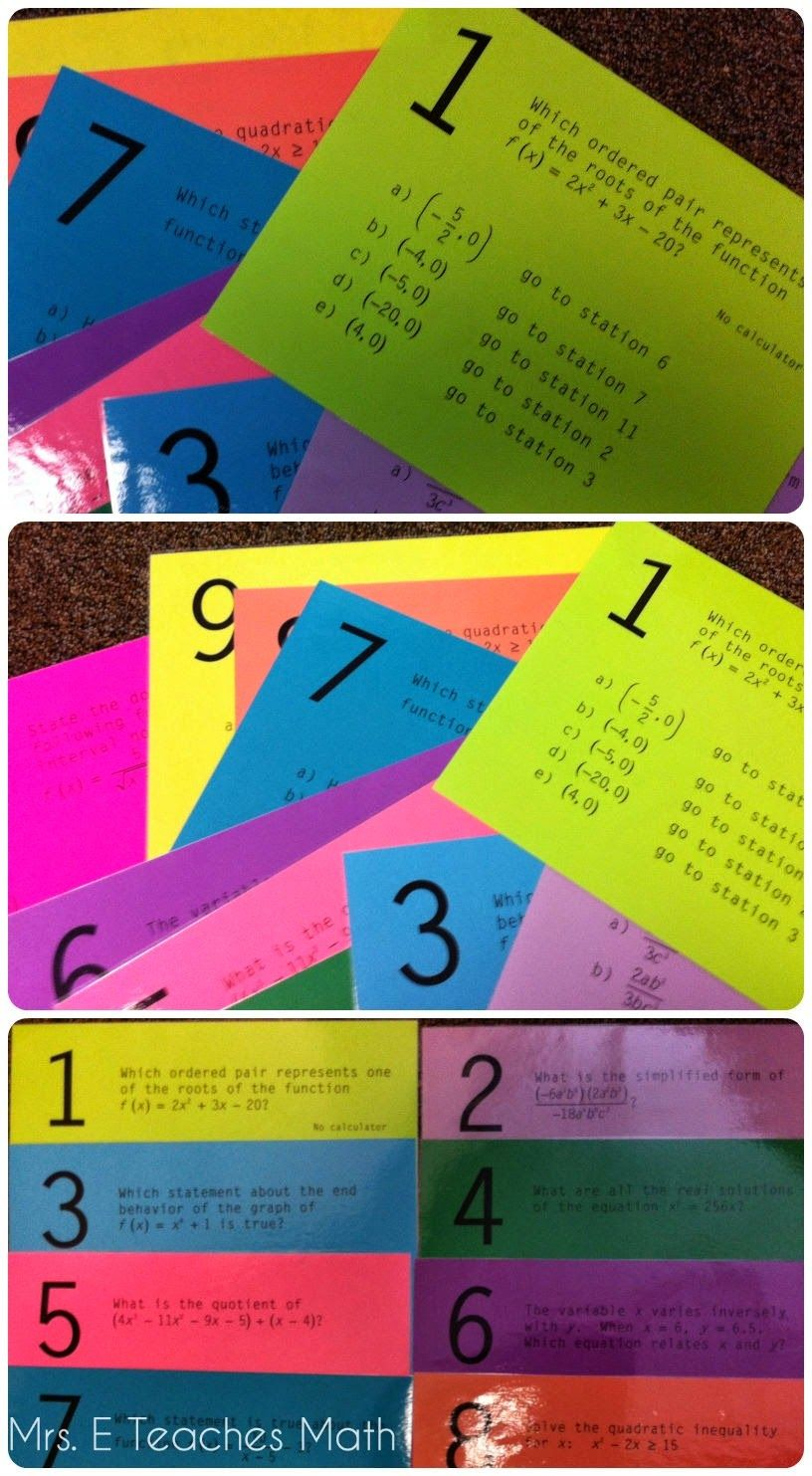 Math Stations & Task Cards. Reviewing with Stations Maze Activities (polynomials stations maze download)