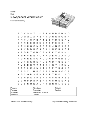 newspaper word search vocabulary crossword and more word search students and school. Black Bedroom Furniture Sets. Home Design Ideas