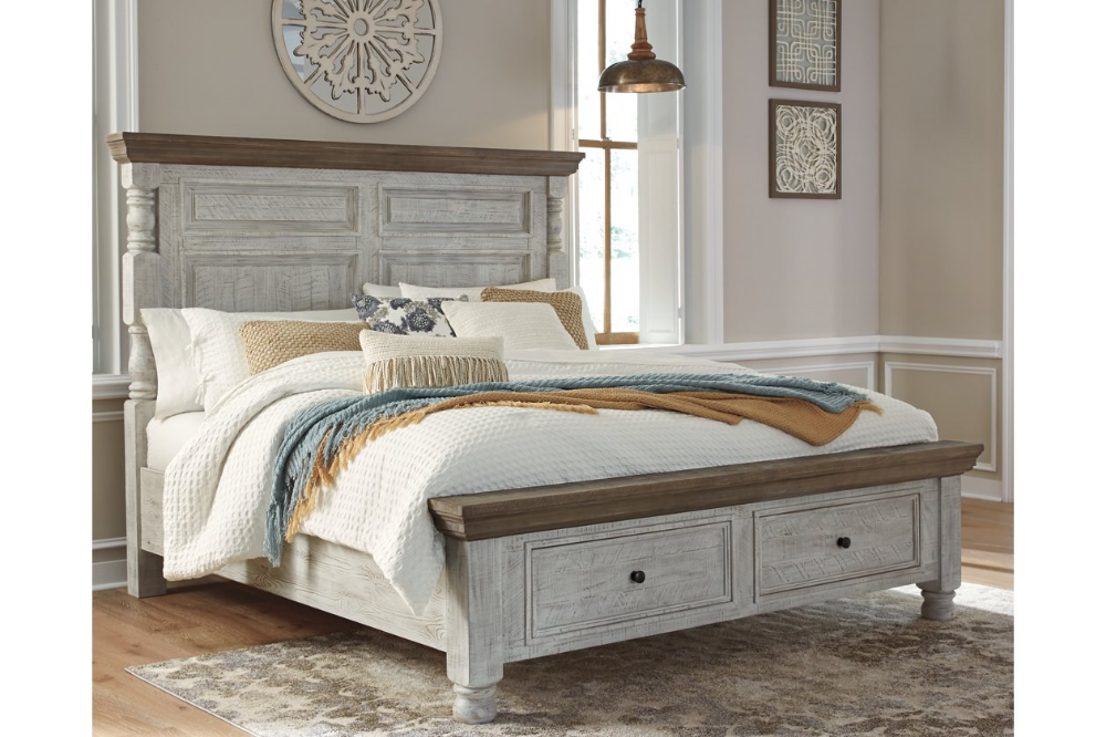 Havalance Queen Poster Bed with 2 Storage Drawers in 2020