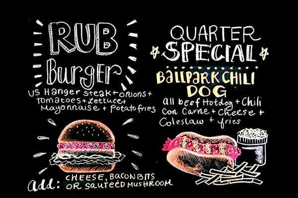 Chalkboard Menu Typography For Rub Ribs  Bbq Newly Opened Branch