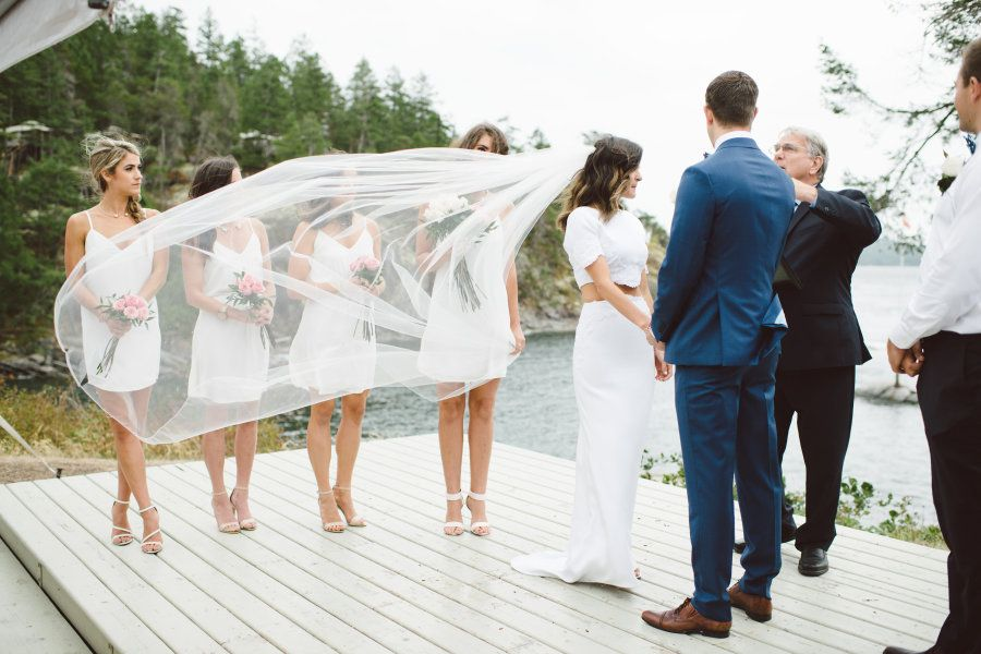 Outdoor British Columbia Wedding With A Two-Piece Dress