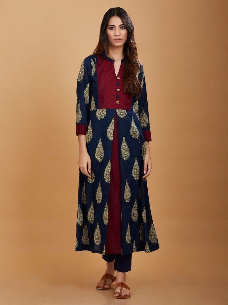 ff254a0c60 Blue Maroon Kalamkari Hand Printed Cotton Kurta | The Loom Ethnic ...