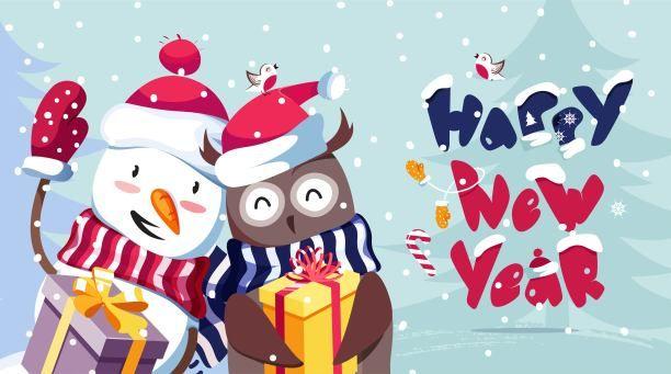 Merry Christmas New Year image cute cartoons | Happy new ...