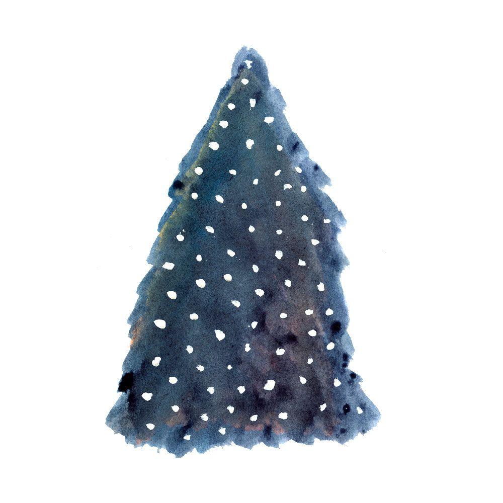 Card Set Christmas Tree in the Snow Blue Christmas Tree