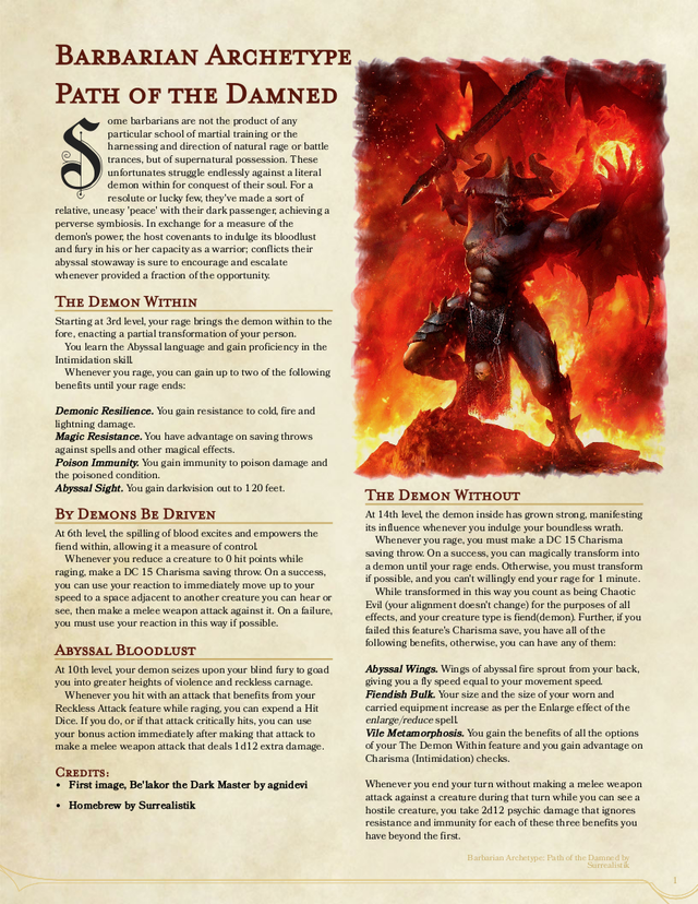 Barbarian Archetype Path Of The Damned 1st Ua Draft Unearthedarcana Dungeons And Dragons Classes Barbarian Dnd Dungeons And Dragons Homebrew Enlarge/reduce shenanigans (5e)5th edition (self.dnd). barbarian archetype path of the damned