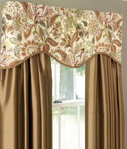 Paisley Jacobean Lined Scalloped Valance
