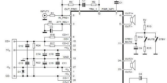 2x70watt stereo power amplifier circuit