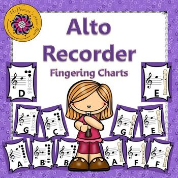 Recorder Fingering Charts for Alto Recorder Music Room Décor - recorder finger chart