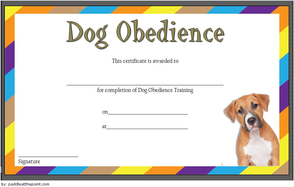 Dog Obedience Training Certificate Template FREE 1