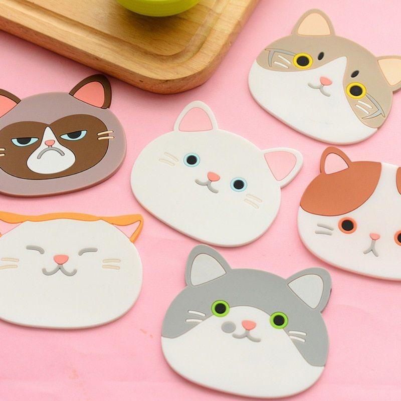 Bonitos Posavasos De Gato De Dibujos Animados Posavasos De Silicona Para Comedor Posavasos Individuales De Mes Diseño De Gato Patrones De Mantel The Coasters