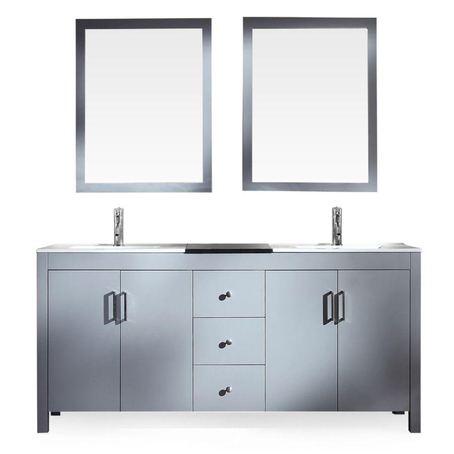 Ariel Hanson Grey 72 In Drop In Double Sink Asian Hardwood Bathroom Vanity Wit Granite Vanity Tops Double Sink Bathroom Vanity Modern Bathroom Vanity