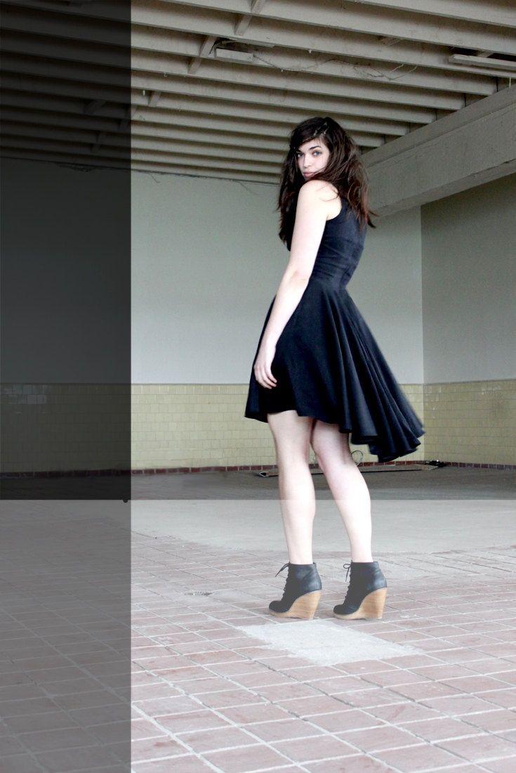 Dress Black Velvet Mullet Cut Shoes Wedged Booties