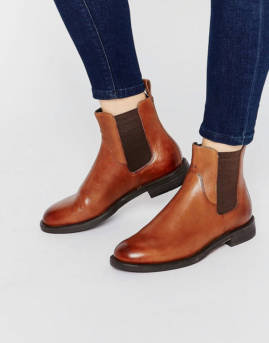 Image 1 of Vagabond Amina Tan Leather Flat Ankle Boots