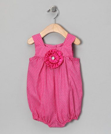 Take a look at this Pink Polka Dot Flower Bubble Bodysuit - Infant by Cupcake Hues: Girls' Apparel on #zulily today!
