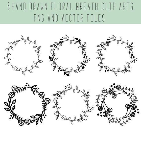 Floral Wreath Clip Art And VectorDigital Hand Drawn Wedding Clipart