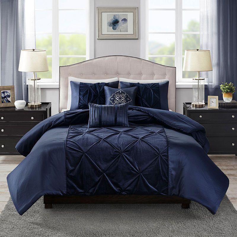 Madison Park Delora 5 Pc Solid Faux Velvet Duvet Cover Set Duvet Cover Sets Comforter Sets Velvet Comforter
