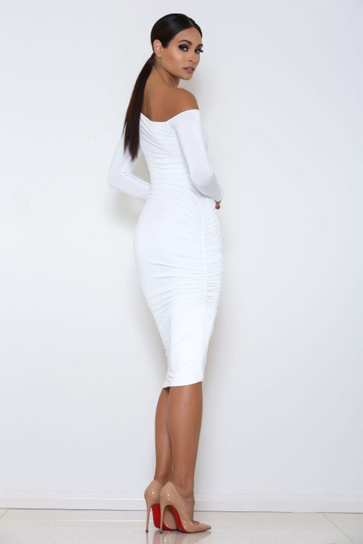 Long Sleeve Oblique Neck Knee-length Pure Color Party Bodycon Dress ... 4a946e76fb52