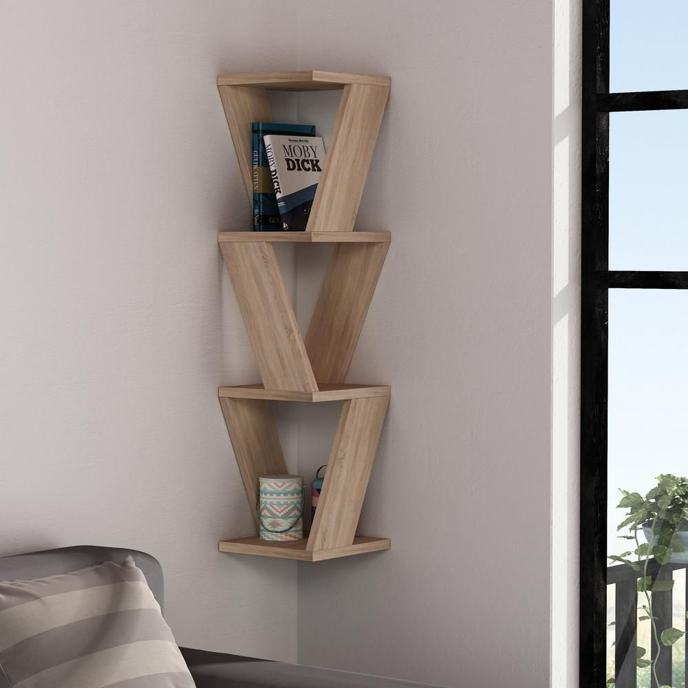 Ada Home Decor Chicago Oak Modern Wall Shelf Brown In 2019