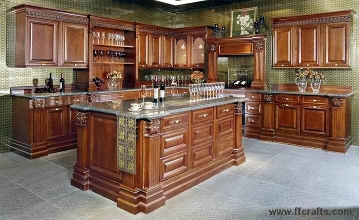 Madera s lida del gabinete de cocina pr k01 madera for Disenos de gabinetes de cocina en madera