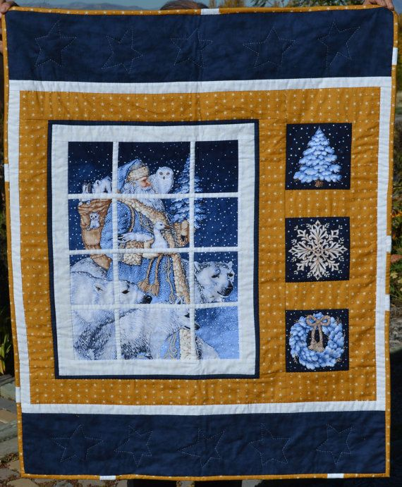 Quilt Looking out a Window to Santa and by WoodenGiraffeToys