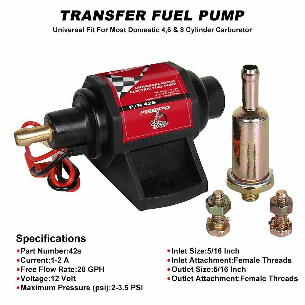 Advertisement Ebay New External Electric Gas Diesel Fuel Pump Carburetor Fuel Sender 2 3 5psi 12v Diesel Fuel Universal Design Carburetor
