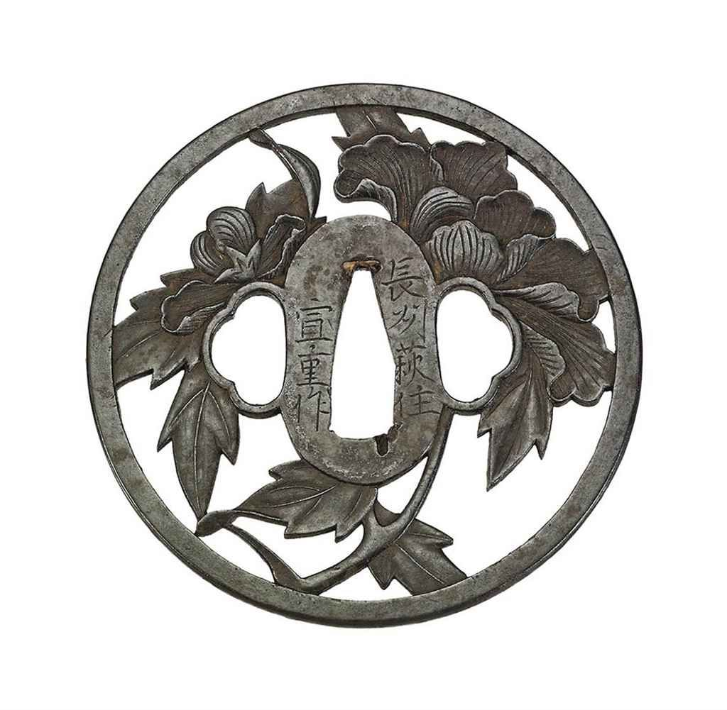 A CHOSHU OKADA SCHOOL TSUBA SIGNED CHOSHU HAJI JU NOBUSHIGE SAKU, EDO PERIOD (18TH CENTURY)