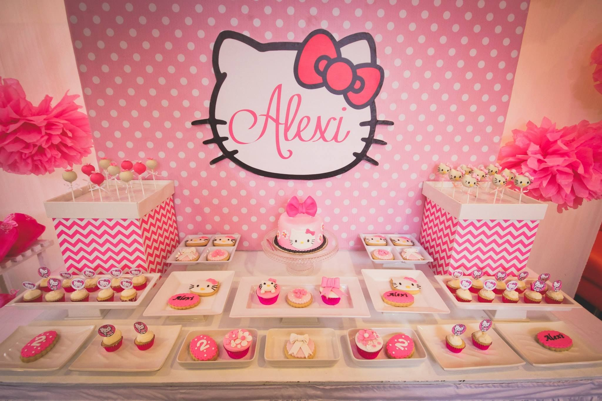 closer look of alexi's hello kitty themed dessert table