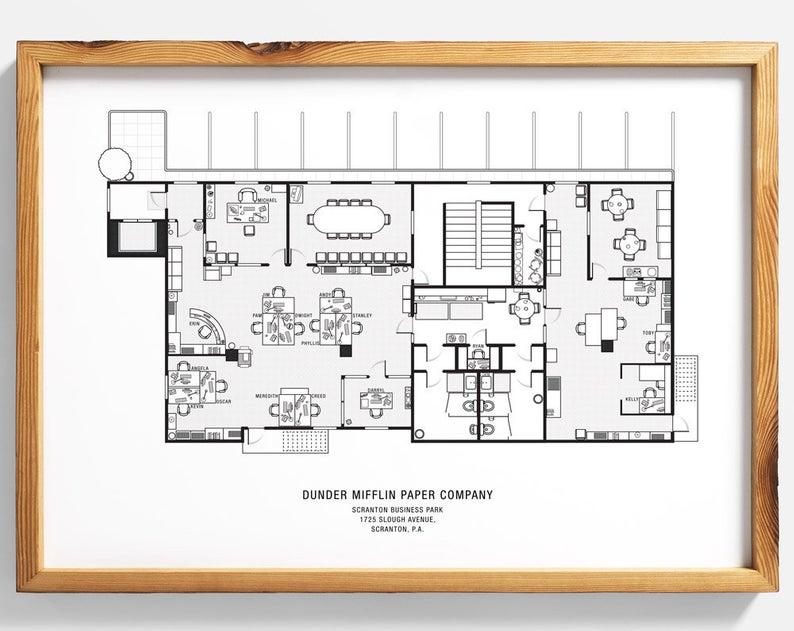 The Office Floor Plan The Office Tv Show The Office Poster Etsy Office Floor Plan Floor Plans Office Floor