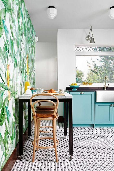 Penny Round Tiles Fun Pal Leaf Wallpaper In This Turquoise And Green Bold Bright
