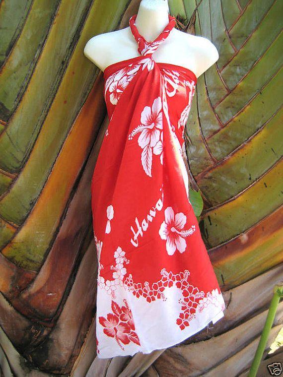 6ac2d31bcce Red White Hibiscus Hawaiian Luau Cruise Dress Pareo Beach Wrap Skirt Hawaii  Indonesian Malaysian on Etsy