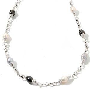 """Designs by Veronica™ Multicolor Cultured Freshwater Pearl Silvertone 38"""" Necklace at HSN.com."""