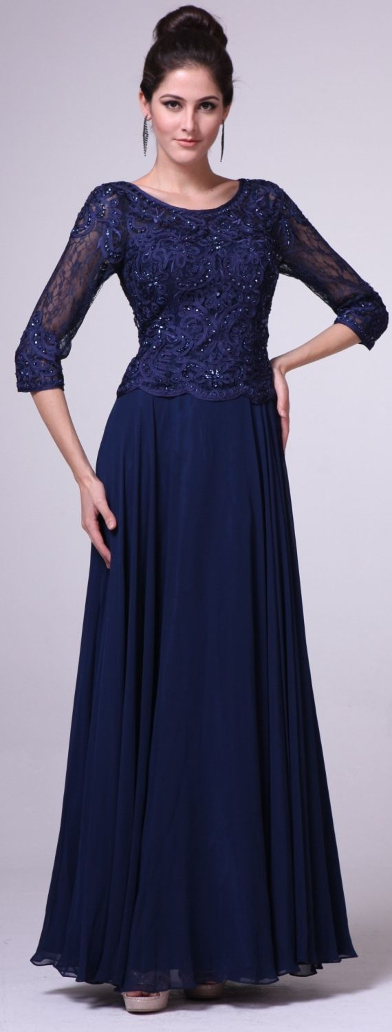 Mid Length Lace Sleeve Mother of Groom Dress Navy Blue Long #groomdress
